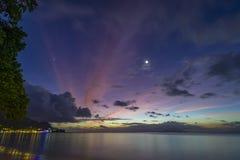 Oscuridad de Beau Vallon Beach foto de archivo libre de regalías