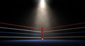 Oscuridad de la esquina de Spotlit del boxeo Fotos de archivo libres de regalías