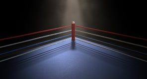 Oscuridad de la esquina de Spotlit del boxeo Imagen de archivo libre de regalías