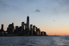 Oscuridad del Lower Manhattan Imágenes de archivo libres de regalías