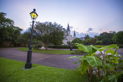 Oscuridad en Jackson Square, New Orleans foto de archivo libre de regalías