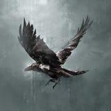 Oscuridad exhausta del cuervo del vuelo stock de ilustración