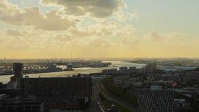 Oscuridad Panorma de Rotterdam almacen de video