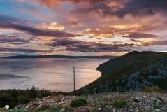 Oscuridad sobre el mar adriático, isla de Cres Imagenes de archivo