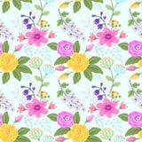 Ose und Blumen auf hellblaue Farbnahtlosem Muster vektor abbildung