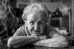 Сose-up portrait of an elderly lady. Royalty Free Stock Image