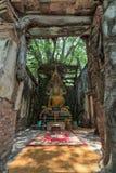 Osedda Thailand, Buddha i gammal tempel på Wat Sang Kratai Ang Thong Province, Thailand Royaltyfri Bild