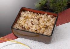 Osekihan: Rote Bohnen-Reis Stockbild
