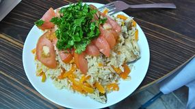 Osh rice tomato delicious. Persian food asia Royalty Free Stock Image