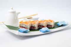 Oshi sushi med laxen Royaltyfria Foton