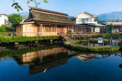Oshino Hakkai domy wiejscy i staw Mt Fuji Pięć jezior Obrazy Royalty Free