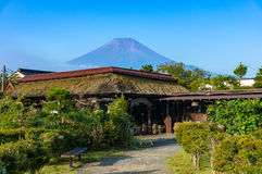 Oshino Hakkai farmhouses with Mt. Fuji on the background Royalty Free Stock Photography