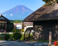Oshino Hakkai farmhouses and pond of Mt. Fuji Five Lakes Royalty Free Stock Photo