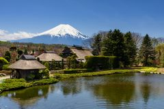 Oshino Hakkai village with Fuji view. Oshino Hakkai heritage village with Mount Fujisan or Fuji view in spring by top view, Yamanashi, Japan Stock Photos