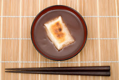 Oshiruko. Japanese sweet red-bean soup(remove bean skins) with Mochi(Rice cakes) named Oshiruko(or Shiruko Royalty Free Stock Image