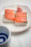 Oshizushi e causa di color salmone Immagini Stock Libere da Diritti