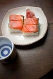 Oshizushi e causa di color salmone Immagine Stock Libera da Diritti