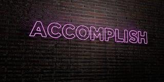 OSIĄGA - Realistyczny Neonowy znak na ściana z cegieł tle - 3D odpłacającego się królewskość bezpłatnego akcyjnego wizerunek ilustracja wektor
