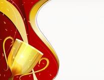 Osiągnięcia tła złoty czerwony trofeum z fala Zdjęcia Stock
