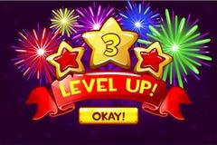 Osiągnięcie ekran, kreskówki ikony poziom up i guzik, GUI elementy Ikony dla gemowego projekta royalty ilustracja