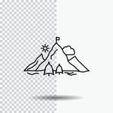 osiągnięcie, flaga, misja, góra, sukces Kreskowa ikona na Przejrzystym tle Czarna ikona wektoru ilustracja ilustracja wektor