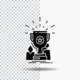 Osiągnięcie, nagroda, filiżanka, nagroda, trofeum glifu ikona na Przejrzystym tle Czarna ikona royalty ilustracja