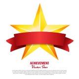 Osiągnięcie wektoru gwiazda Z Czerwonym faborkiem Koloru żółtego znaka miejsce Dla teksta Złoty dekoracja symbol 3d połysku ikona royalty ilustracja