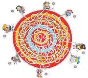 Osiem dzieci labiryntu gra royalty ilustracja