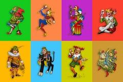 Osiem karcianych jokerów w kolorowych prostokątach royalty ilustracja