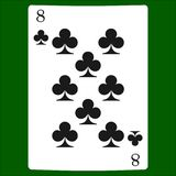 Osiem klubów Karciana kostium ikona, karta do gry symbole Obrazy Royalty Free