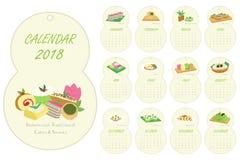 Osiem Kształtowali 2018 kalendarz, Indonezyjski Tradycyjny tort kreskówki wektor Obraz Royalty Free