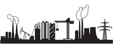 Osiem miastowy i przemysłowi budynki Fotografia Royalty Free