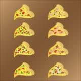 Osiem plasterków vegeterian i mięsna pizza z serem royalty ilustracja
