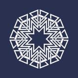 Osiem wskazywali kurenda wzór w orientale przecina linia styl Biały mandala w płatek śniegu formie ilustracja wektor