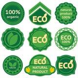 Osiem zielonych etykietek dla eco produktów Fotografia Stock