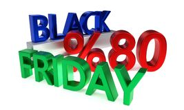 Osiemdziesiąt procentów Black Friday rabaty, 3d odpłaca się Ilustracja Wektor