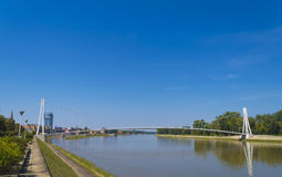 Hanging bridge over Drava stock images