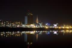 Osijek. Night scene of Osijek, a city on the river Drava Stock Photos
