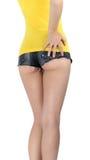 Osioł kobieta jest ubranym drelichu krótkich skróty Obraz Stock