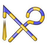 Osiris crossed hook and flail icon, cartoon style Royalty Free Stock Photography