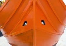Osiris eye on luzzu boat in Marsaxlokk, Malta. Malta, Marsaxlokk, luzzu boat, detail of osiris eyes royalty free stock images
