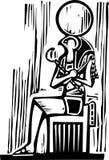 Osiris que se sienta egipcio stock de ilustración