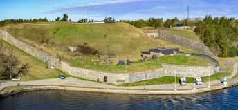 Oskar-Fredriksborg fort, Oxdjupet narrows in Stockholm archipelago, Sweden. Fort Oscar Fredriksborg was built from 1870 to 1877 over Oxdypet strait as a stock photography