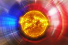 Oskarp bakgrund av futuristisk konstbakgrund med den kraftiga solen Arkivfoton