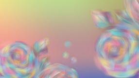 Oskarpa f?rgrika blommarosor p? en h?rlig bakgrund av f?rg av regnb?gen Kort vektor illustrationer
