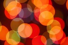 Oskarpa ljus för mångfärgad defocused bokeh, julljus, fe royaltyfri fotografi