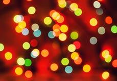 Oskarpa ljus för mångfärgad defocused bokeh, julljus, fe royaltyfri foto
