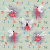 Oskrzydleni baletniczy tancerze z kwiatami i latanie motylami na tle muzykalne notatki Zdjęcie Stock