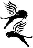 Oskrzydleni lwy Zdjęcie Royalty Free