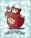 Oskrzydlony bufiasty kot daje kwiatu ilustracji